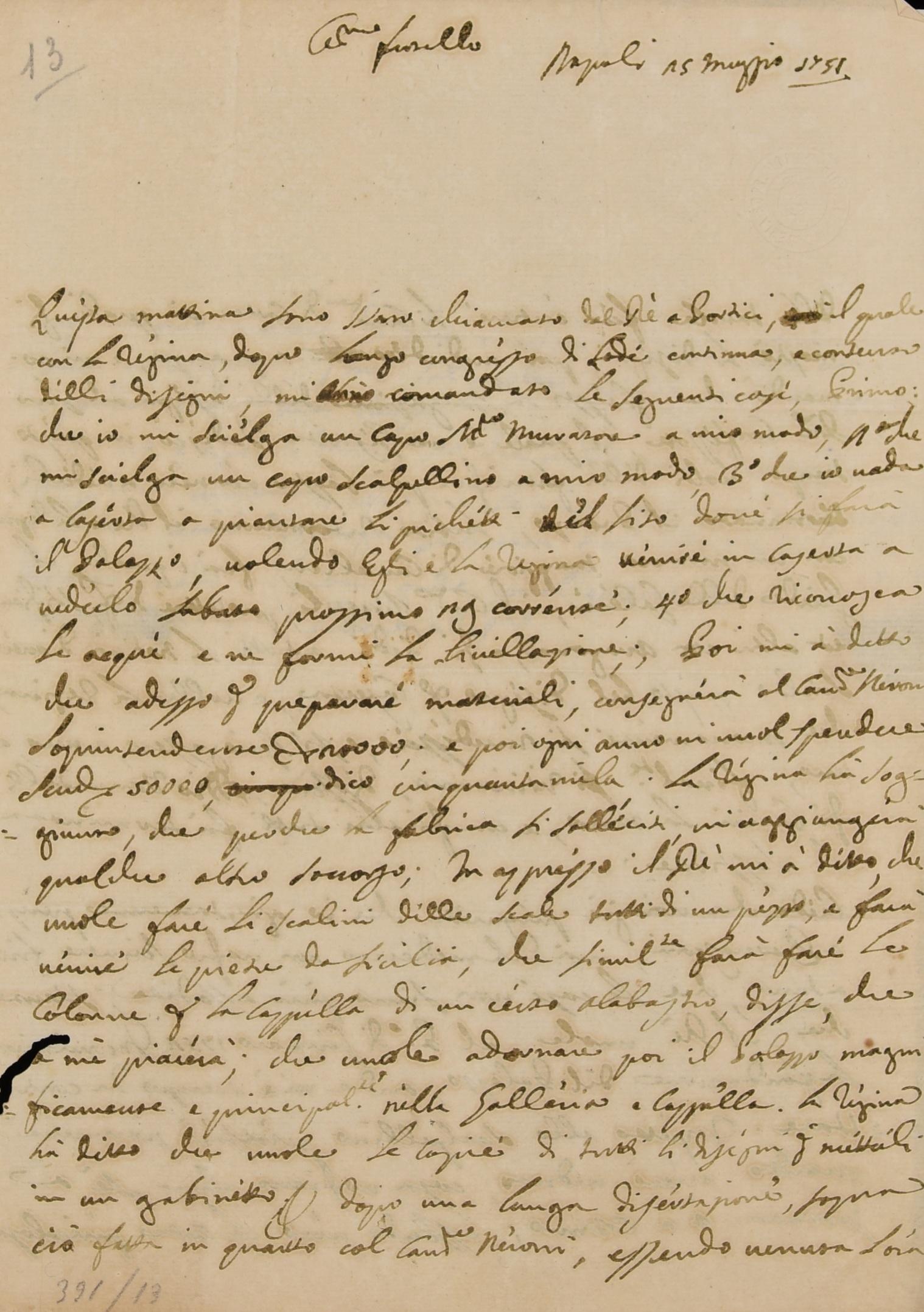 lettera di Vanvitelli