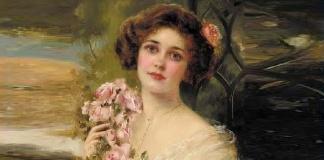 Giovane donna con rose di Emile Vernon