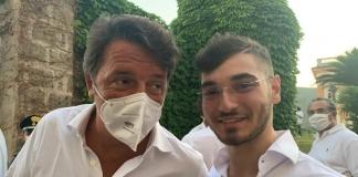 Matteo Renzi con Alessandro Fedele al Belvedere di San Leucio in occasione della presentazioe del suo libro La mossa del cavallo