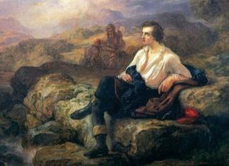 Giacomo Trecourt, Lord Byron sulle sponde del mare ellenico, particolare (olio su tela, 153 x 114,5 cm; Pavia, Musei Civici)