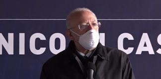 Vincenzo De Luca a Caserta per la riapertura del cantiere del Policlinico