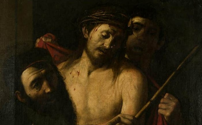 Il dipinto attribuito a Caravaggio (particolare), XVII secolo, olio su tela, 111 x 86 cm